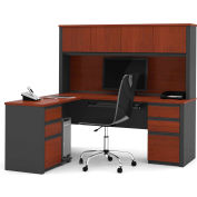 "Bestar® L Desk with Hutch - Double Pedestal - 71"" - Bordeaux & Graphite - Prestige+"