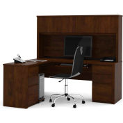 "Bestar® L Desk with Hutch - Double Pedestal - 71"" - Chocolate - Prestige+"