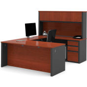 "Bestar® U Desk with Hutch - Double Pedestal - 71"" - Bordeaux & Graphite - Prestige+"