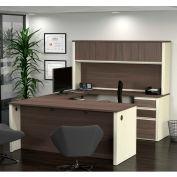 Bestar® U-Shaped Workstation - Double Pedestal - White Choc/Antigua - Prestige + Series