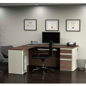 Bestar® L-Shaped Workstation with Pedestal - White Choc/Antigua - Prestige + Series