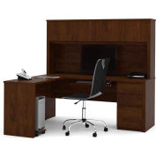 "Bestar® L Desk with Hutch - Single Pedestal - 71"" - Chocolate - Prestige+"