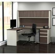 Bestar® L-Shaped Workstation - Pedestal and Hutch - White Choc/Antigua - Prestige + Series
