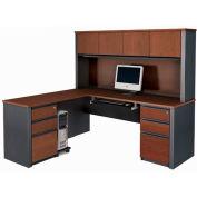 Prestige + L-shaped Workstation Kit with Pedestals - Bordeaux & Graphite