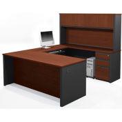 Prestige + U-shaped Workstation Kit with Pedestals in Bordeaux & Graphite