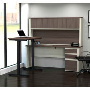 Bestar® L-Desk with Hutch and Adjustable Table - White Choc/Antigua - Prestige +  Series