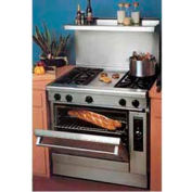 "Residential Range, Nat Gas, 2 Burners Left & Right, 12"" Center Griddle, 105,000 BTU"