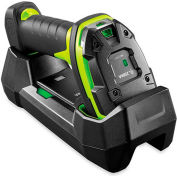 Zebra Industrial Cordless 1D Handheld Barcode Scanner w/ Cradle, USB Cable & Power Supply, Black