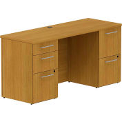 """Bush® 300 Series Double Pedestal Desk, 300S035MC, 60""""W x 22""""D, Cherry"""