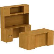 """Bush® 300 Series Double Pedestal Desk, 300S048MC, 66""""W x 30""""D, Cherry"""