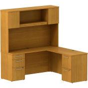 """Bush® 300 Series L-Shaped Single Pedestal Desk, 300S062MC, 66""""W x 22""""D, Cherry"""