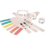 "Zebra Z-Band Quick Clip Kit, Poly, 1"" W X 7"" L, 3 Rolls Wrist Bands & 1,160 White Clips - Pkg Qty 4"
