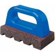 "6""L X3""WX 1""H Fluted Rub Bricks, Plastic Handle, 20 Grit"
