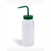 Bel-Art LDPE Wash Bottles 116280500, 500ml, Green Cap, Wide Mouth, 6/PK - Pkg Qty 4
