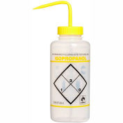 Bel-Art LDPE Wash Bottles 116462432, 1000ml, Isopropanol Label, Yellow Cap, Wide Mouth, 6/PK