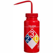 Bel-Art LDPE Wash Bottles 117160016, 500ml, Toluene Label, Red Cap, Wide Mouth, 4/PK