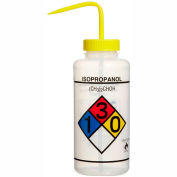 Bel-Art LDPE Wash Bottles 117320008, 1000ml, Isopropanol Label, Yellow Cap, Wide Mouth, 4/PK
