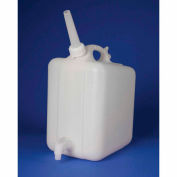 "Bel-Art HDPE Jerrican with Spigot 11859-0025, 10 Liters, Screw Cap, 3/4"" I.D. Spout, White, 1/PK"