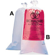 "Bel-Art Biohazard Disposal Bags With Warning Label, 1-3 Gallon, 1.5 mil Thick, 12""W x 24""H, 100/PK"