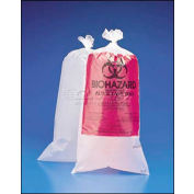 "Bel-Art Biohazard Disposal Bags With Warning Label, 15-20 Gallon, 1.5 mil Thick, 24""W x 36""H, 100/PK"