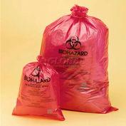 """Bel-Art Red Biohazard Disposal Bags 131642535, 15-20 Gallon, 1.5 mil Thick, 25""""W x 35""""H, 200/PK"""