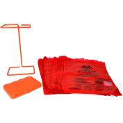 Bel-Art F13193-0500 Poxygrid Bench-Top Biohazard Bag Holder Kit, Includes 100 Bags