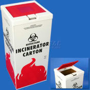 "Bel-Art Cover For Biohazard Incinerator Disposal Carton 132040000, 12.5"" x 12.5"", White/Red, 1/PK - Pkg Qty 8"