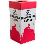 """Bel-Art Cardboard Biohazard Incinerator Cartons 132050001, 12"""" x 12"""" x 27"""", Floor, White/Red, 6/PK"""