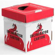 """Bel-Art Cardboard Biohazard Incinerator Cartons 132050002, 8"""" x 8"""" x 10"""", Benchtop, White/Red, 6/PK"""
