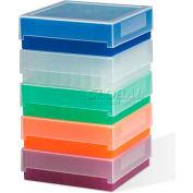 Bel-Art Polypropylene Freezer Storage Boxes 188520016, For 0.5-2ml Tubes, 81 Places, Assorted, 5/PK - Pkg Qty 10