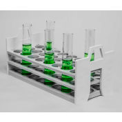 Bel-Art Stack Rack™ PP Test Tube Rack 188602630, For 26-30mm Tubes, 24 Places, White, 1/PK