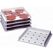 "Bel-Art Stackable Petri Dish Incubation Tray F18983-1000, 9-7/8"" x 9-5/16"" x 1-3/8"", 3/PK - Pkg Qty 4"