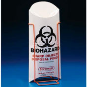 "Bel-Art Biohazard Sharp Object Safety Pouches 132340000, Paperboard, 5-1/2""W x 13""H, White, 200/PK - Pkg Qty 5"