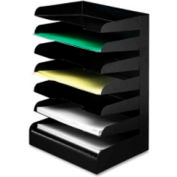 Buddy Products Horizontal Letter Tray Seven Tier Desktop Organizer Black