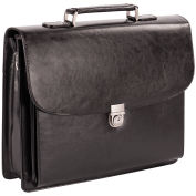 "Bugatti EXB279 Lockable Leather Executive Briefcase, 15.6"" Computer Case Black"