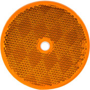 "Buyers 3.1875"" Amber Round DOT Bolt-On Reflectors - 5623317 - Pkg Qty 10"