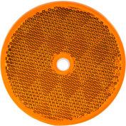 "Buyers 3.1875"" Amber Round DOT Bolt-On Reflectors - 5623317 - Pkg Qty 10"