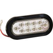 "6-1/2"" Oval 10 LED Clear Backup Light w/ Grommet & Plug - 5626310"