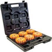 """Buyers 4"""" Round Rechargeable Strobe/Flare Kit - With 6 Flares And Charging Case - 8891018"""