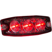 """Buyers 3.4"""" Red Surface Mount Ultra-Thin Strobe Light With 3 LED - 8892233"""