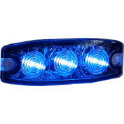 """Buyers 3.4"""" Blue Surface Mount Ultra-Thin Strobe Light With 3 LED - 8892234"""