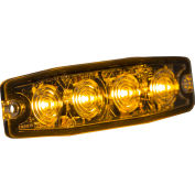 """Buyers 4.4"""" Amber Surface Mount Ultra-Thin Strobe Light With 4 LED - 8892240"""