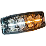 "Buyers 4.4"" Amber/Clear Surface Mount Ultra-Thin Strobe Light - 4 LED - 8892242"