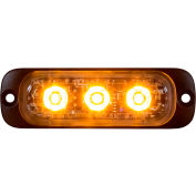 "Buyers 3.375"" Amber Thin Mount Horizontal Strobe Lights With 3 LED - 8892300"