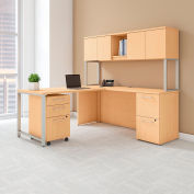 "Bush Furniture 72""W L-Desk with Hutch Return and Storage - Natural Maple - 400 Series"
