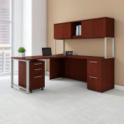 "Bush Furniture 72""W L-Desk with Hutch Return and Storage - Harvest Cherry - 400 Series"