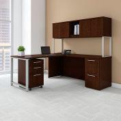 "Bush Furniture 72""W L-Desk with Hutch Return and Storage - Mocha Cherry - 400 Series"