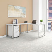 "Bush Furniture 60""W L-Desk with Return and Mobile File - White - 400 Series"