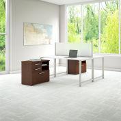 "Bush Furniture 60"" 2-Person Workstation with Desks - White with Mocha Cherry Storage - 400 Series"