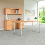 "Bush Furniture 60""W Table Desk with Credenza and Hutch - Natural Maple - 400 Series"